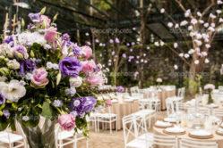 Bouquet of flowers in a ballroom.